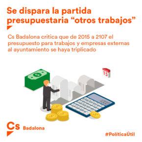 """Cs Badalona critica al gobierno municipal por casi triplicar en dos años la partida de """"otros trabajos"""" en el presupuesto"""