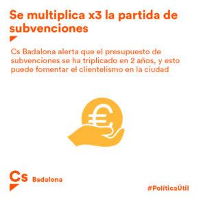 Cs Badalona alerta que el pressupost de subvencions s'ha multiplicat per 3 en dos anys