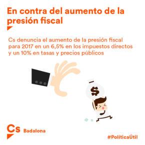 Cs Badalona denuncia que el govern municipal augmenti la pressió fiscal en un 6,5% als ciutadans